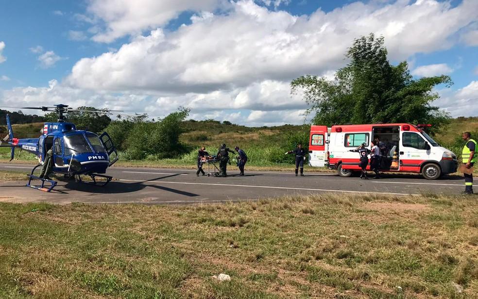 Cinco vítimas foram socorridas por ambulâncias do Samu (Foto: Divulgação/Graer)