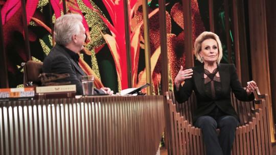 Ana Maria Braga se emociona com palavras de Pedro Bial durante entrevista