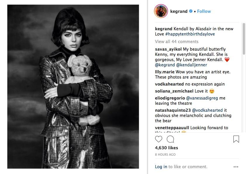 A modelo Kendall Jenner em uma das fotos de seu ensaio para a revista LOVE (Foto: Instagram)
