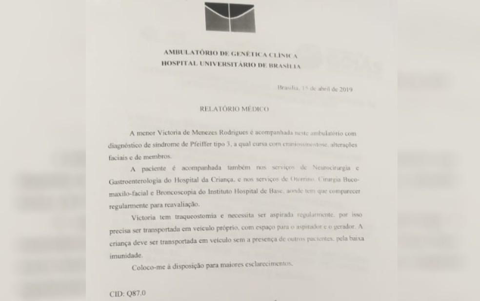 Laudo médico atesta doença genética rara em menina de Campos Belos, Goiás — Foto: Reprodução/Arquivo pessoal