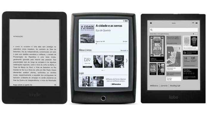 Diferentes tipos de e-readers (Foto: Reprodução/Paulo Alves)
