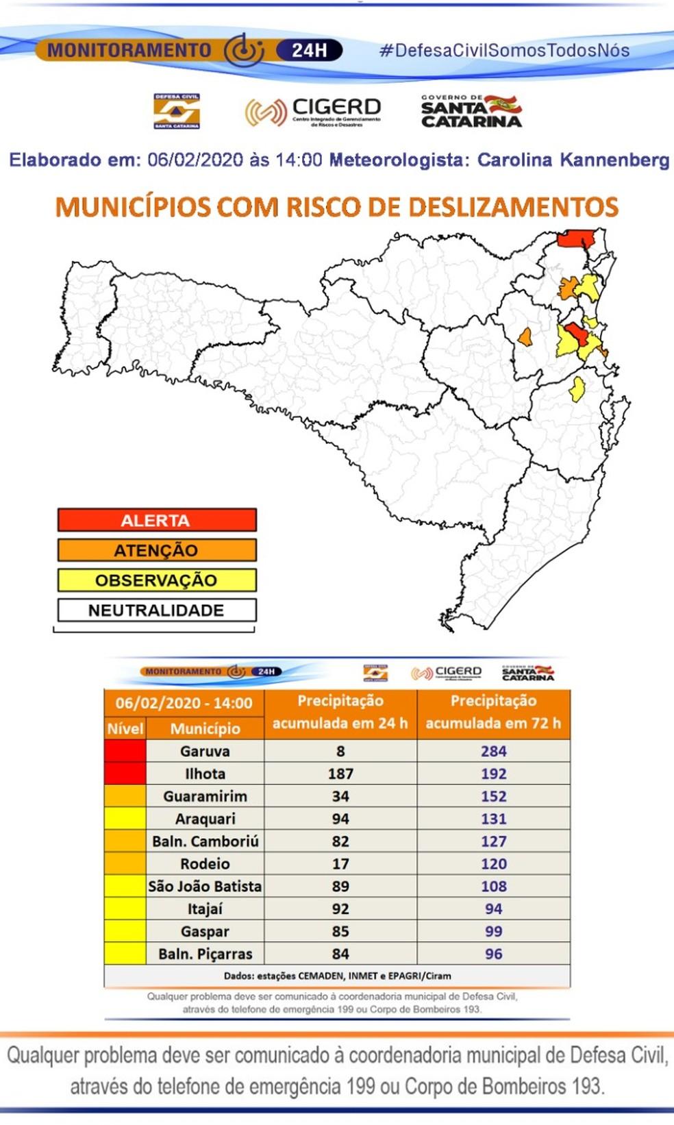 Municípios com risco de deslizamentos — Foto: Defesa Civil Estadual/ Divulgação