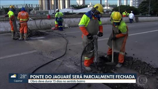 Incêndio provoca interdição de parte da ponte do Jaguaré por 15 dias