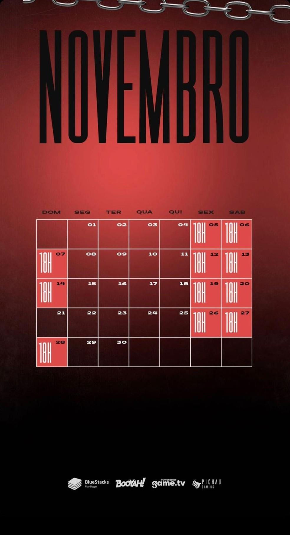 Calendário de novembro da Season 6 — Foto: divulgação/Liga NFA