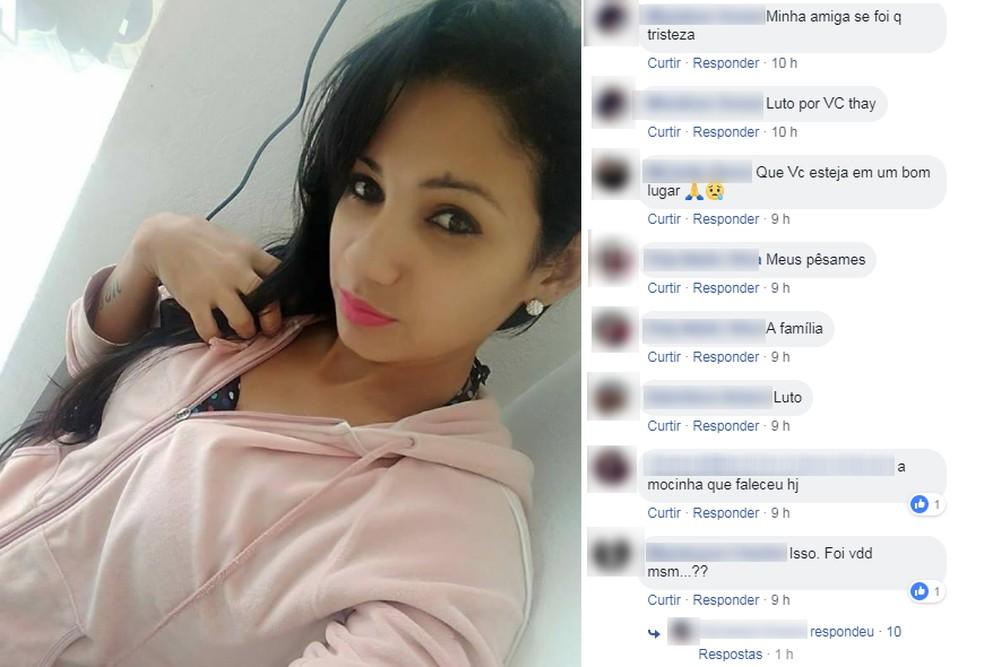 Amigos lamentaram a morte de Thaynara em Jarinu — Foto: Facebook/Reprodução