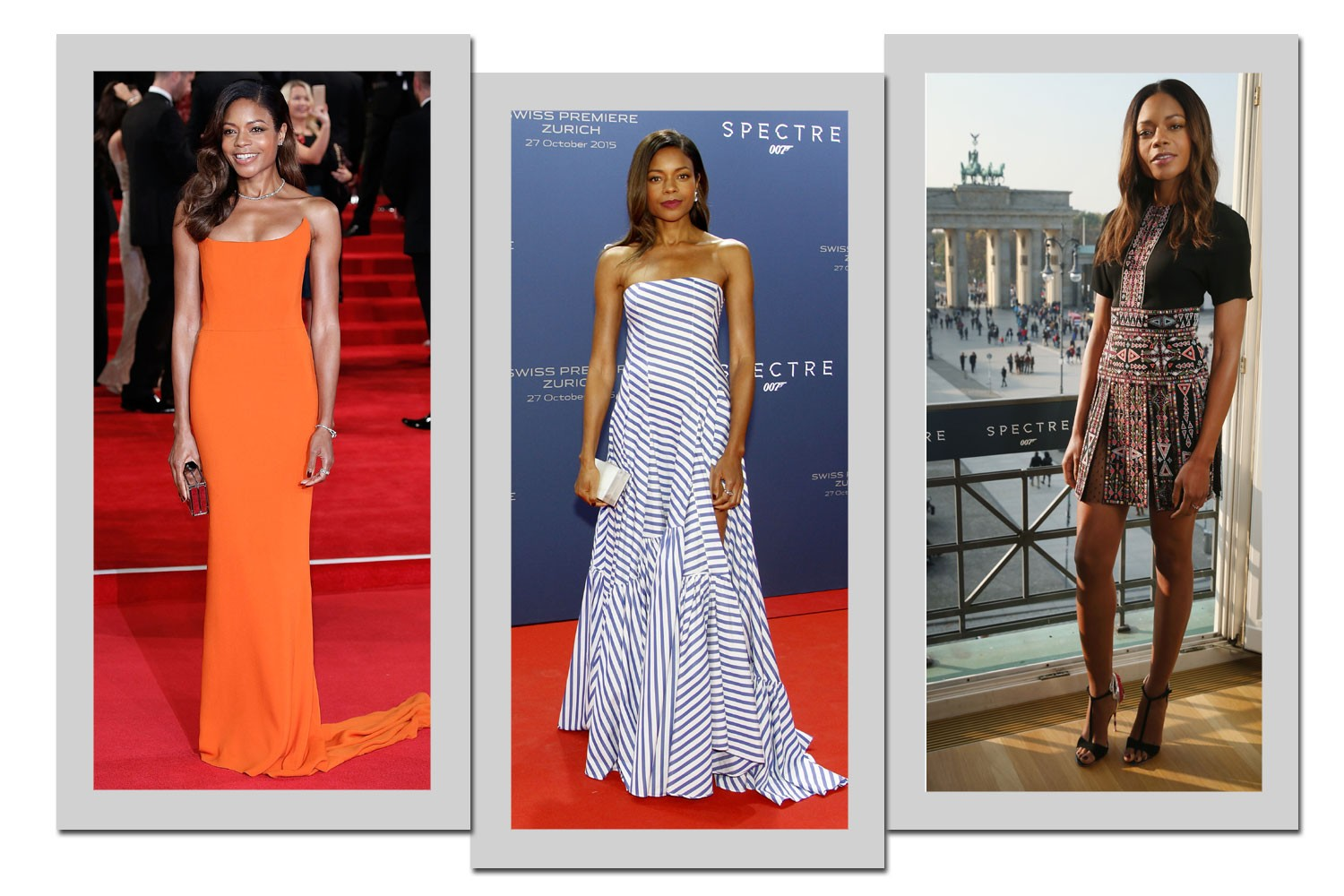 Da esquerda para a direita: Naomi Harris usa Stella McCartney, Ralph Lauren e Balmain (Foto: Getty Images)