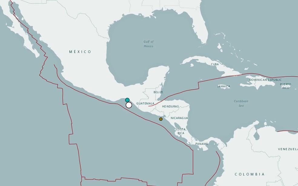 Mapa do USGS mostra local do terremoto na costa do México (Foto: reprodução / USGS)
