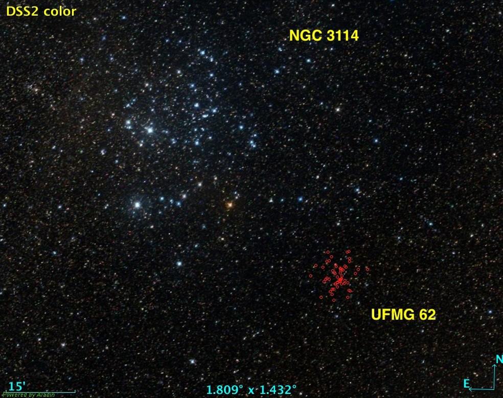 Aglomerado UFMG 62 (estrelas marcadas em vermelho) e o já conhecido aglomerado NGC3114 — Foto: Reprodução / Aladin Sky Atlas e Satélite Gaia