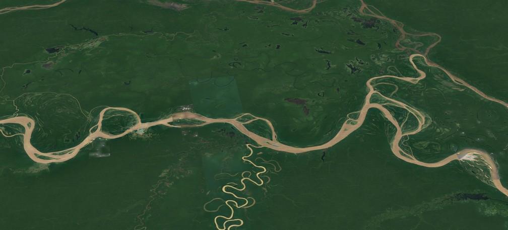 Ilhas artificiais foram identificadas em áreas de várzea do Médio e Alto Solimões, no Amazonas.  — Foto: Earth Studio/Reprodução