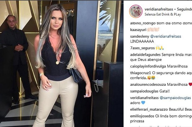 """Veridiana Freitas posta foto e Douglas Sampaio comenta: """"Gata"""" (Foto: reprodução instagram)"""
