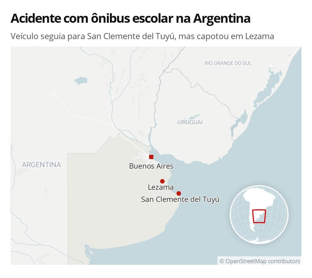 Acidente com ônibus escolar na Argentina deixou 2 meninas mortas nesta quinta (28) — Foto: G1