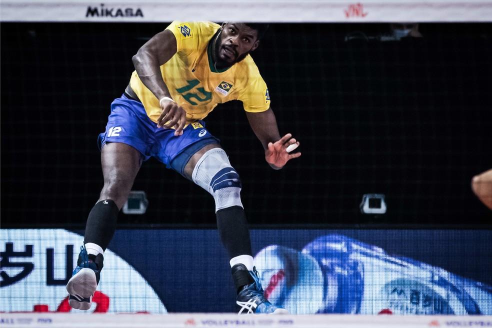 Isac fez bela partida diante da Austrália na Liga das Nações — Foto: Divulgação/FIVB