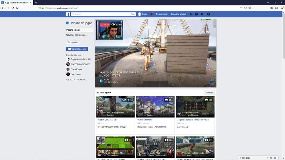 Tela inicial do Facebook Gaming onde o usuário pode selecionar seu streamer ou jogo preferido para assistir — Foto: Reprodução/Bruno Martins
