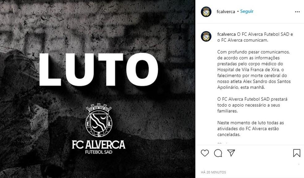 Alverca anuncia morte do brasileiro Alex Sandro — Foto: Reprodução