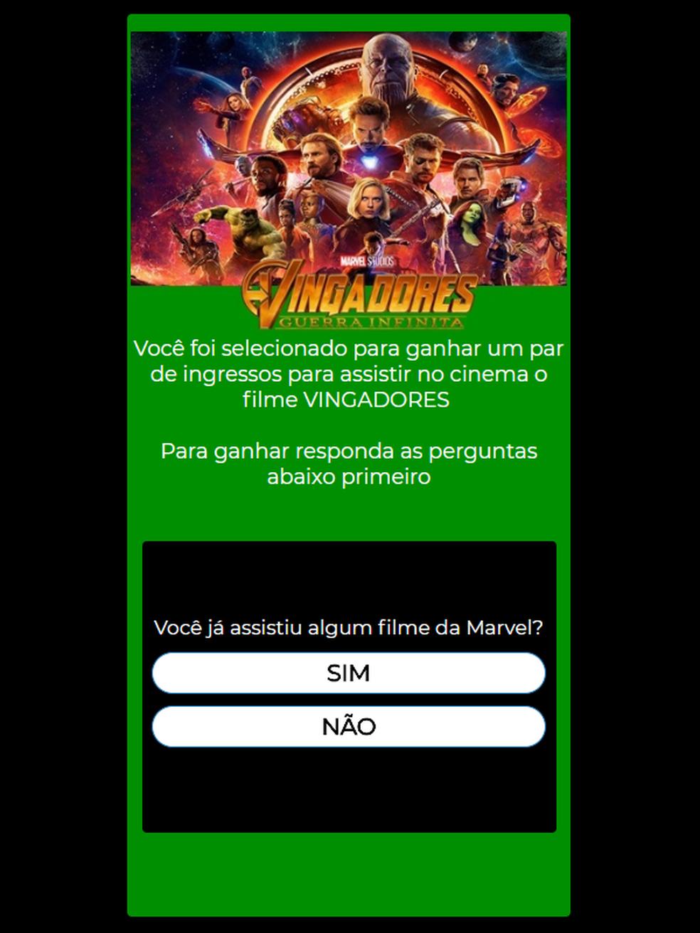 """Página diz que usuário """" foi selecionado para ganhar um par de ingressos"""" (Foto: Divulgação / PSafe)"""