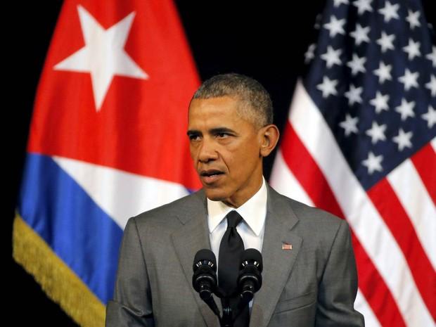 O presidente dos EUA, Barack Obama, discursa no Gran Teatro, em Havana, durante visita histórica a Cuba (Foto: Carlos Barria/Reuters)