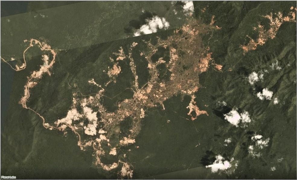 Garimpo na terra indígena Kayapó em janeiro de 2019 — Foto: Planet Labs