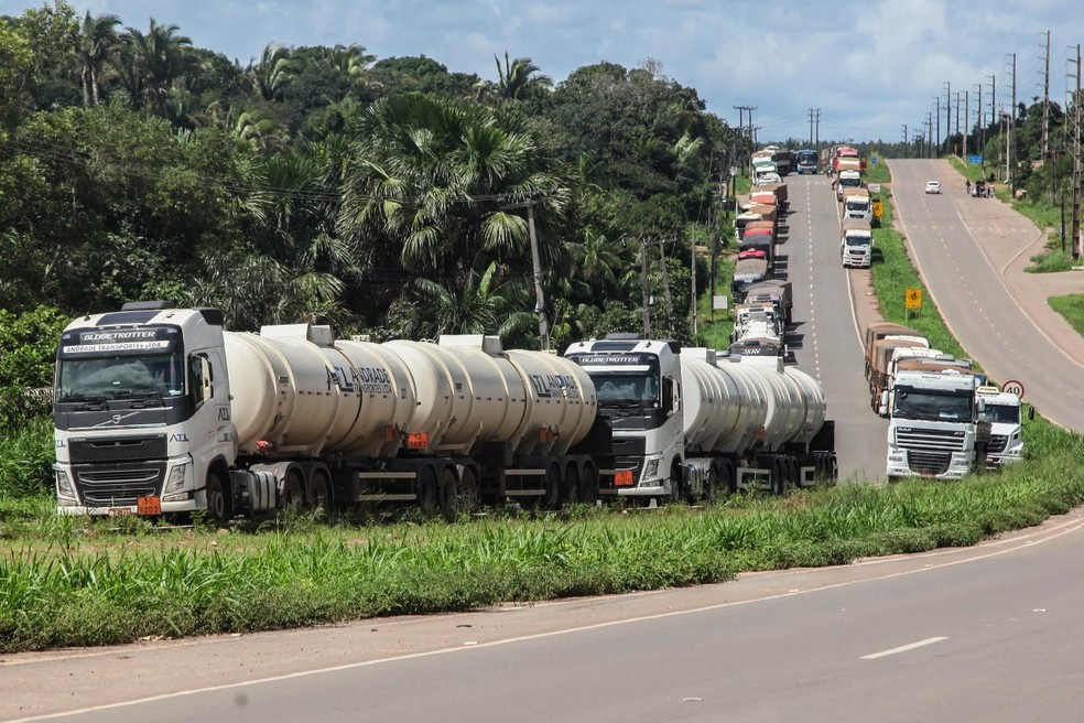 Protestos de caminhoneiros chega ao sexto dia no Maranhão. (Foto: Diego Chaves/ O Estado)