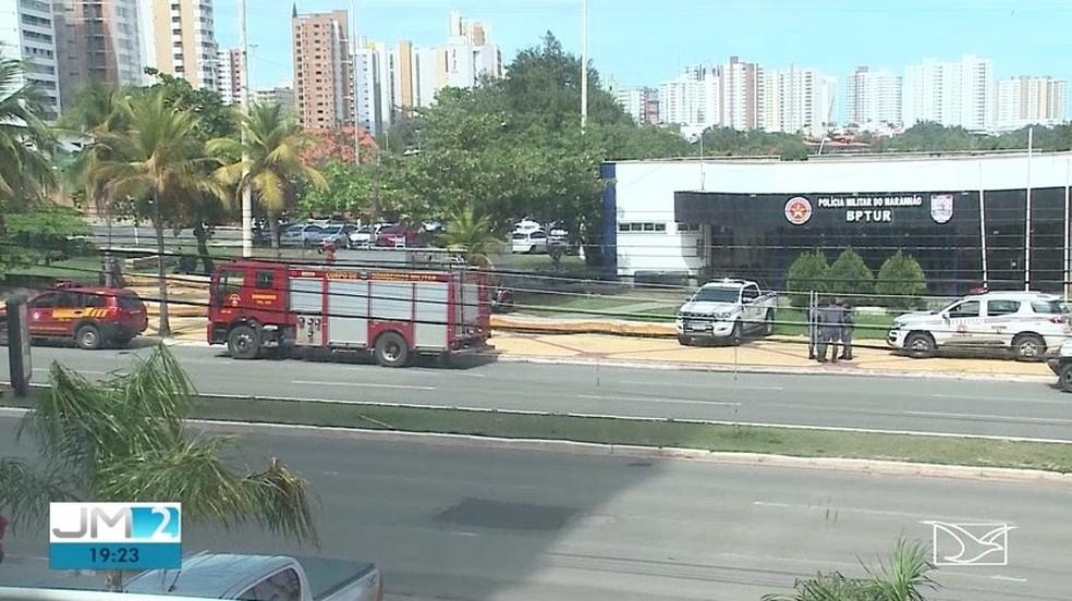 PM depreda posto policial em São Luís — Foto: Reprodução/TV Mirante
