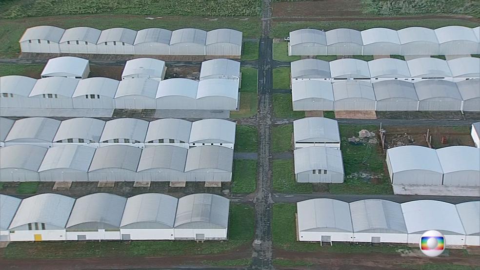 Hangares no aeródromo (Foto: TV Globo/Reprodução)