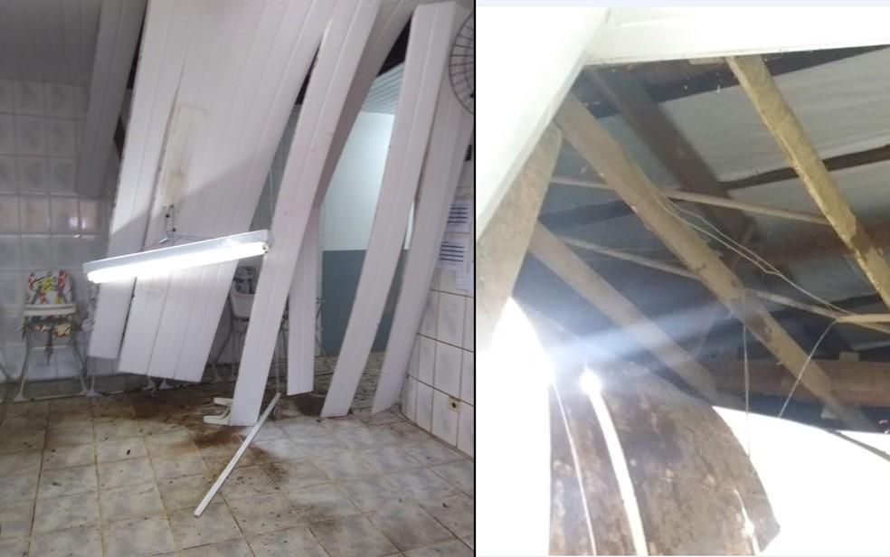 Detalhe do teto desabado em escola de Cotia (Foto: Arquivo Pessoal)