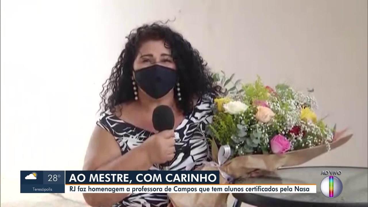 RJ1 faz homenagem a professora de Campos, RJ, que tem alunos certificados pela Nasa