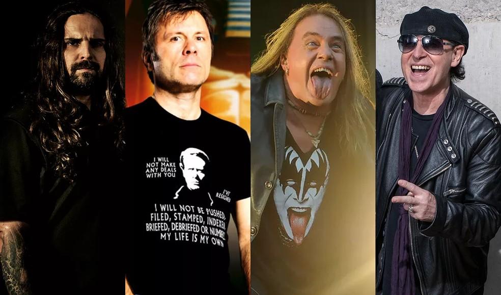 Sepultura, Iron Maiden, Helloween e Scorpions tocam no Rock In Rio nesta sexta-feira (4) — Foto: Divulgação e G1