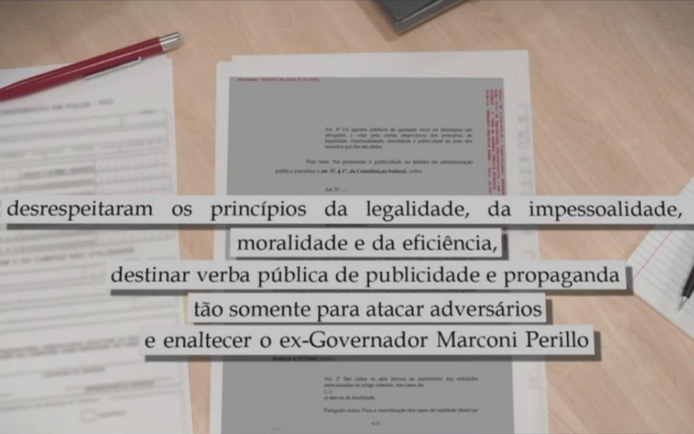 Denúncia aponta que dinheiro público para os três blogs tinham a única finalidade de atacar adversários políticos e enaltecer o ex-governador Marconi — Foto: TV Anhanguera/Reprodução