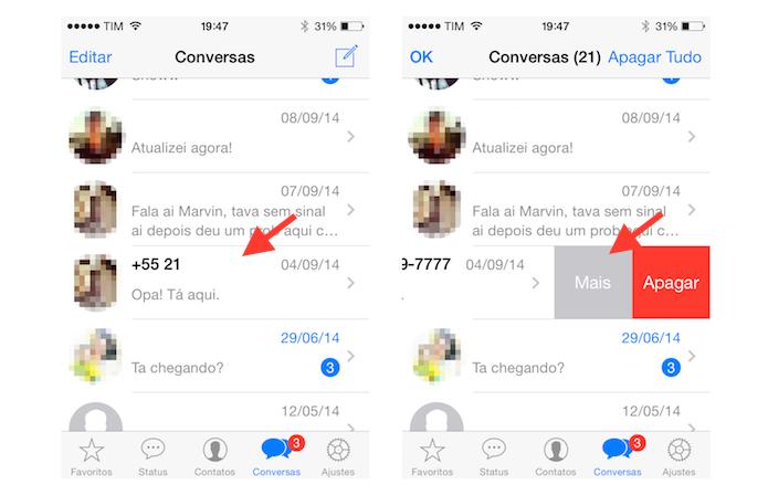 Acessando as opções de um contato no WhatsApp para iOS (Foto: Reprodução/Marvin Costa)
