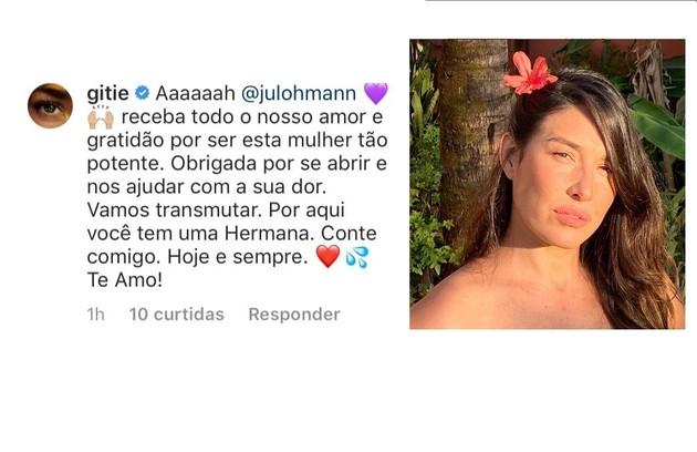 Giselle Itié, que também já relatou ter sofrido um estupro, apoiou a artista (Foto: Reprodução)