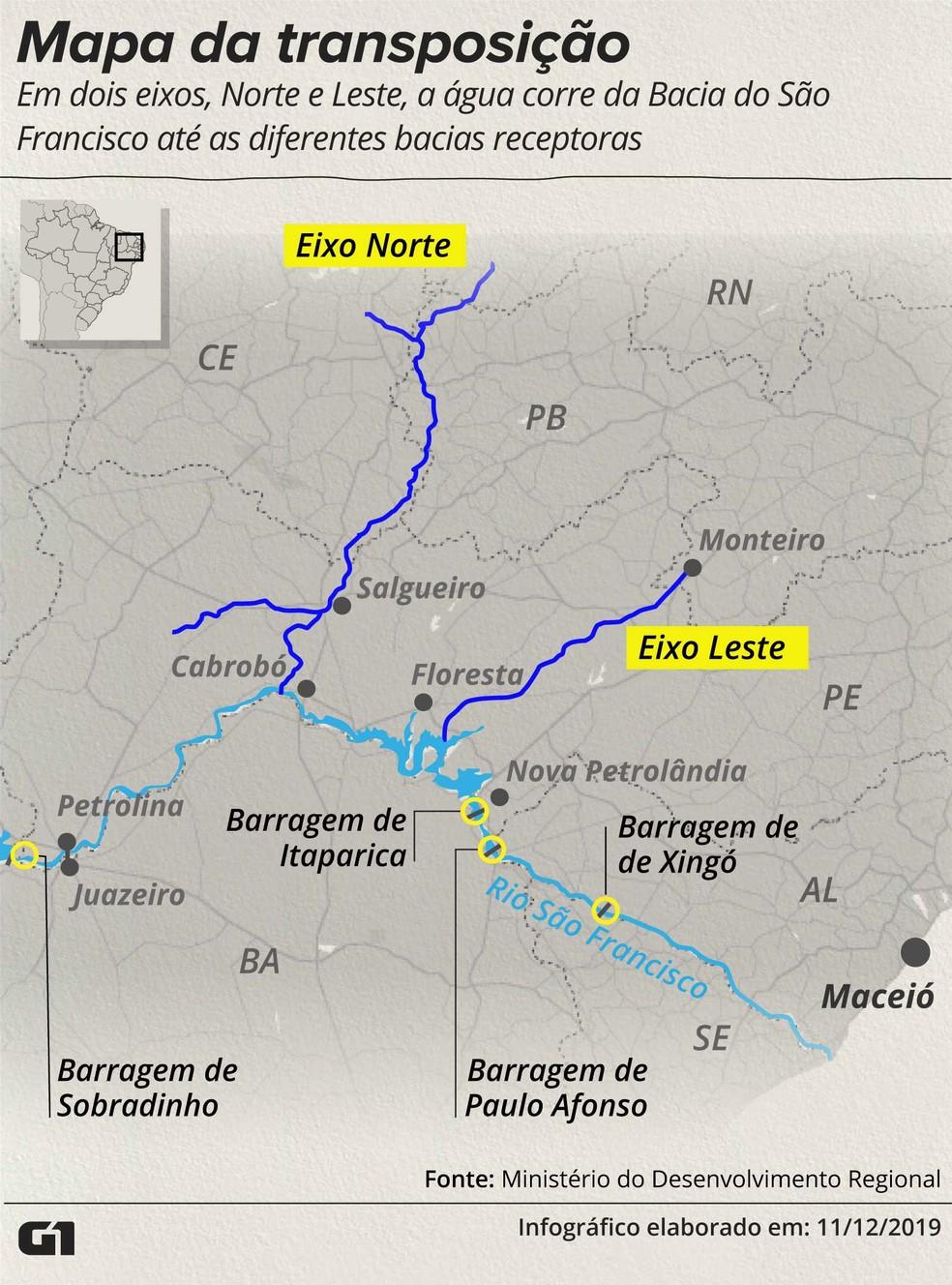 Mapa da transposição do Rio São Francisco — Foto: Aparecido Gonçalves/G1