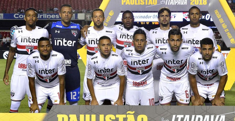 A formação do Tricolor que iniciou a partida contra o Bragantino (Foto: Marcos Ribolli)