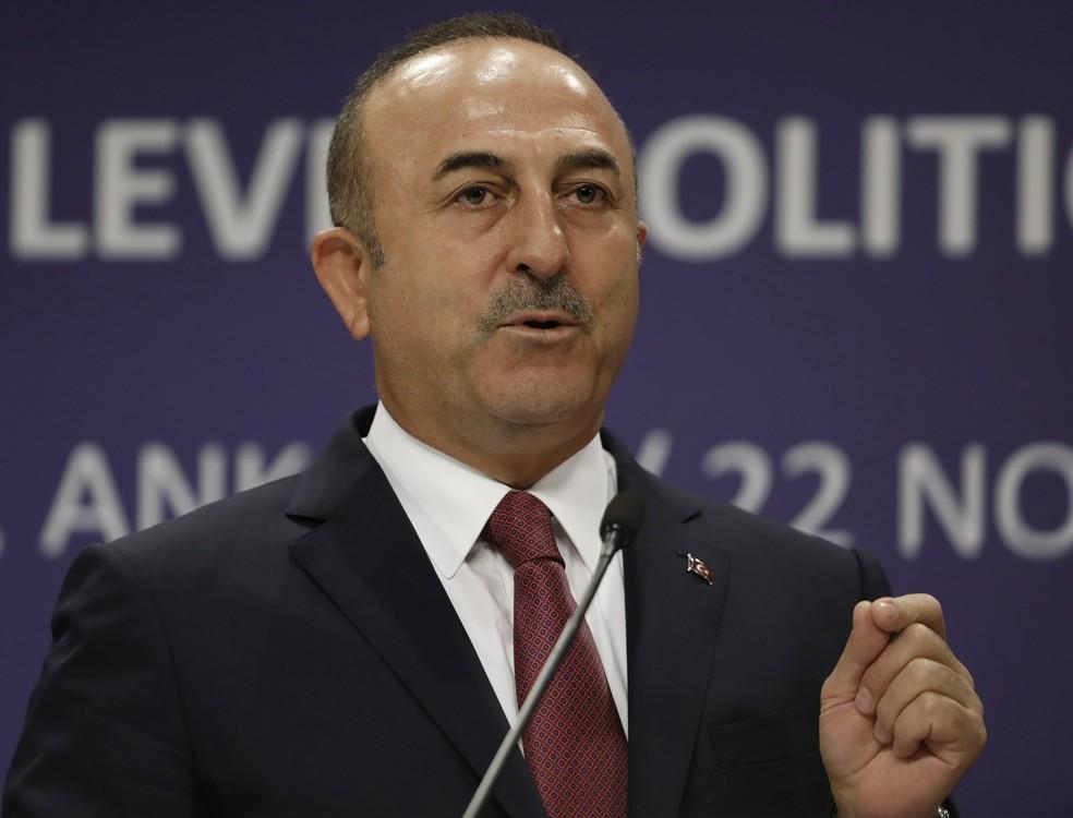 Mevlüt Cavusoglu criticou Israel — Foto: Burhan Ozbilici/AP Photo