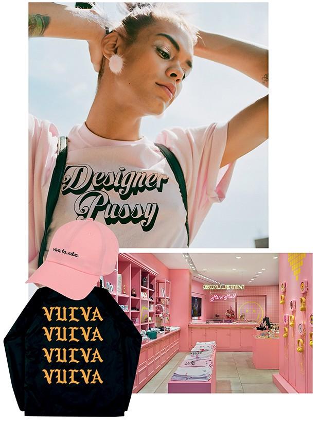 Acima, a Bulletin  do bairro de NoLita, e os produtos da Bangsy, uma das marcas que celebra o orgulho feminino em suas peças   (Foto: .)