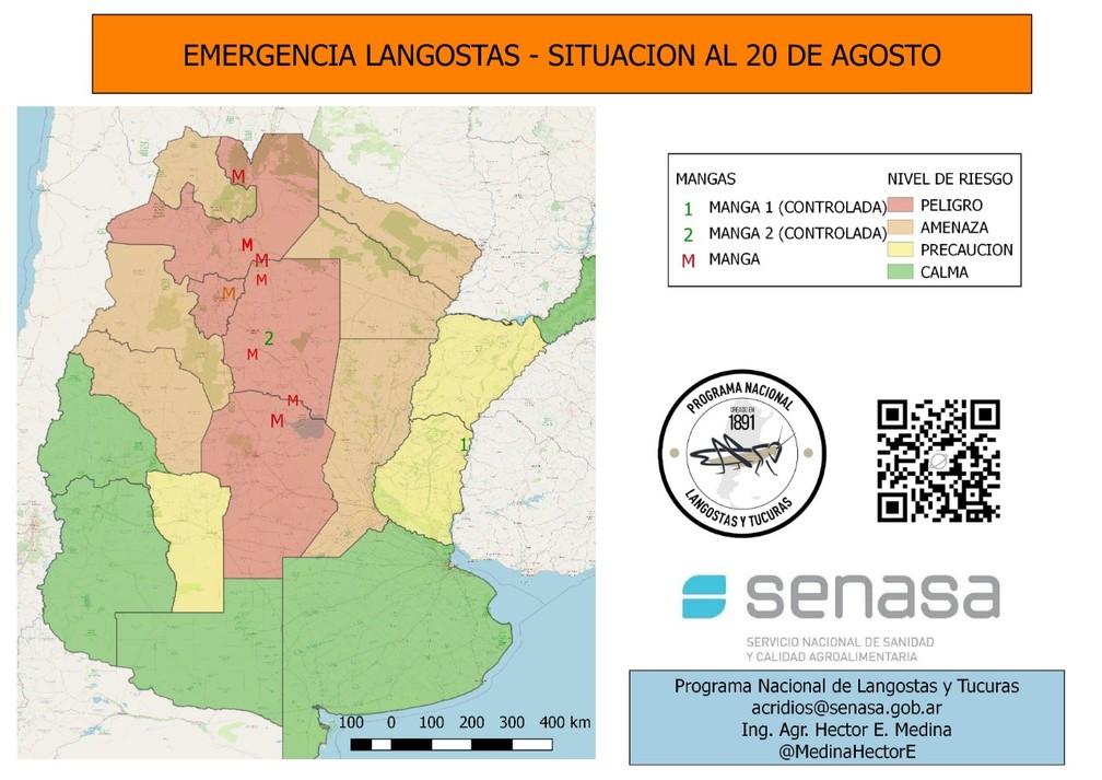 """Mapa mostra a situação das nuvens (""""manga"""", em espanhol) na Argentina — Foto: Senasa/Divulgação"""