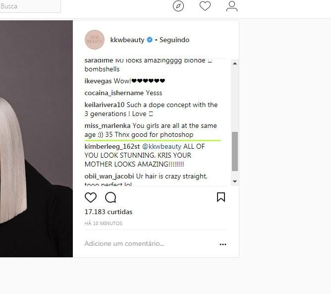 Seguidor questiona retoque da nova image (Foto: Reprodução/Instagram)