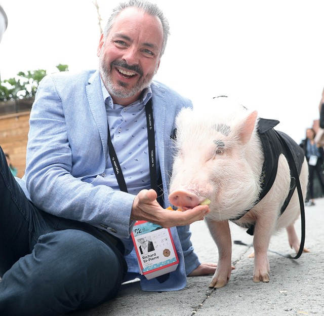 Festival C2  -  O CEO do C2, Richard St-Pierre, e Christopher the Pig (Foto: Jimmy Hamelin)