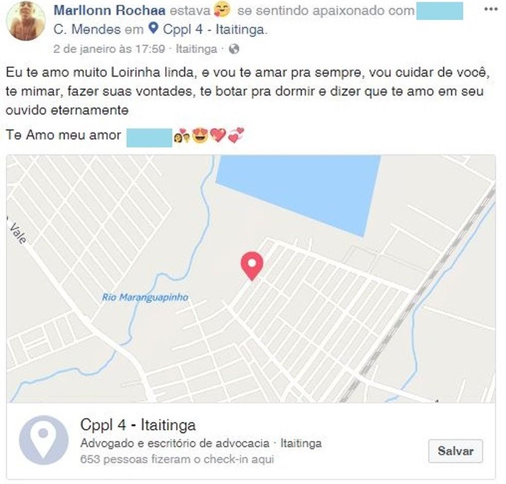 Presidiário faz declaração de amor de dentro de presídio no Ceará (Foto: Facebook/Reprodução)