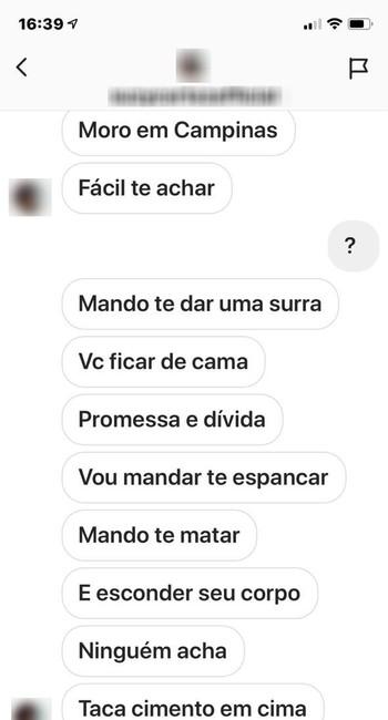 Mensagens que seriam de ameaça a Luiza Brunet