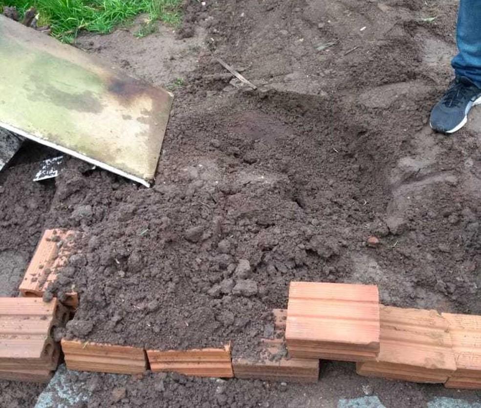 Vítima foi enterrada no pátio de sua casa (Foto: Polícia Civil/Divulgação)