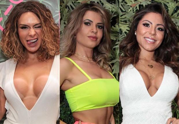 Fernanda Lacerda, Cacau Colucci e Andressa Ferreira ostentam curvas em evento