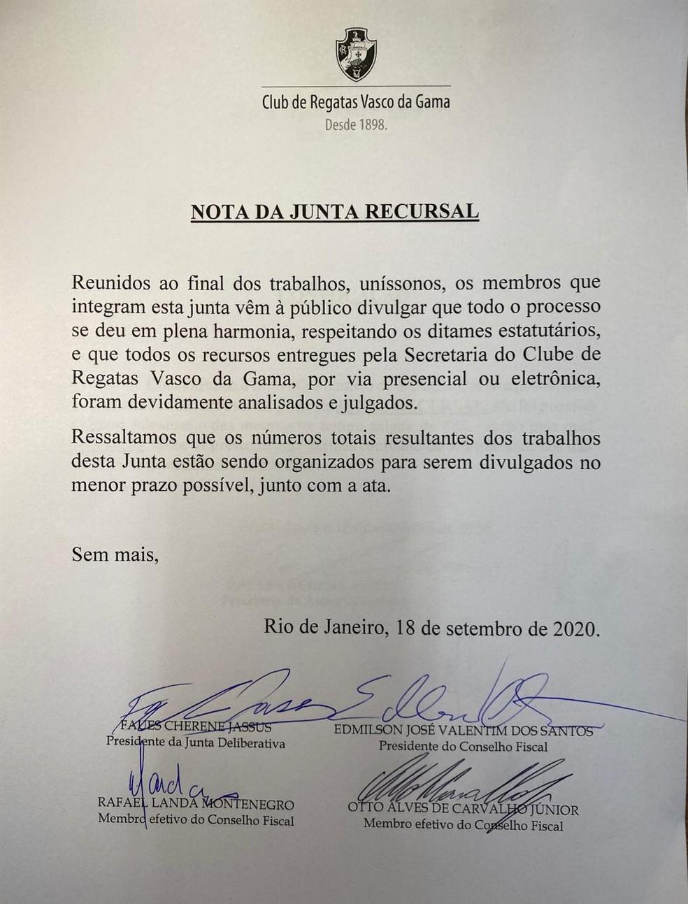 Nota oficial da Junta de Recursos do Vasco — Foto: Reprodução