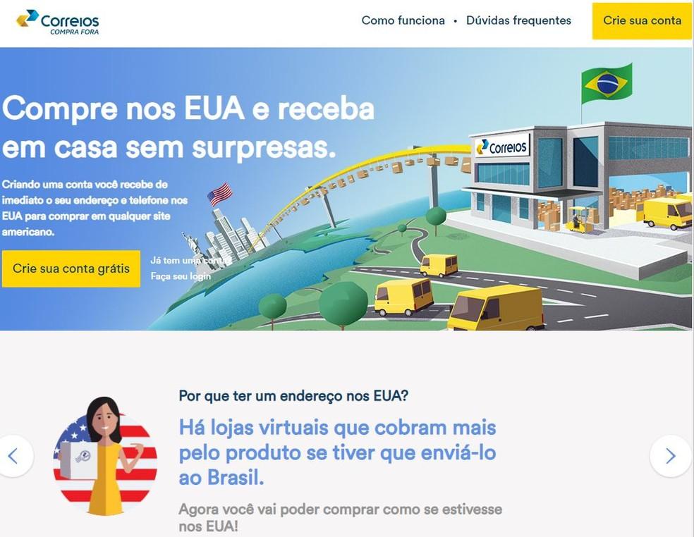 Site dos Correios Compra Fora — Foto: Reprodução