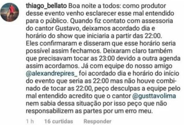 Thiago Bellato, produtor do evento, faz post para admitir erro (Foto: Reprodução/Instagram)