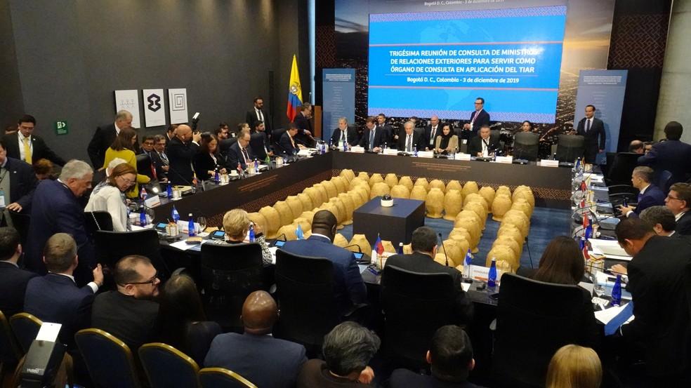 Representantes de países signatários do Tiar se reuniram nesta terça-feira (3) para discutir punições ao chavismo na Venezuela — Foto: Luis Jaime Acosta/Reuters