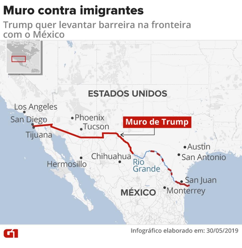 Mapa mostra onde Trump pretende construir muro contra imigrantes na fronteira com o México — Foto: Infografia: G1