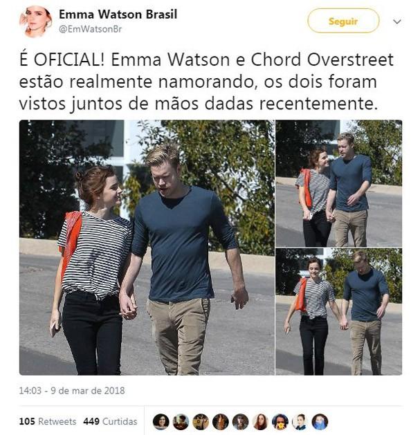 Emma Watson e Chord Overstreet (Foto: Reprodução/Instagram)