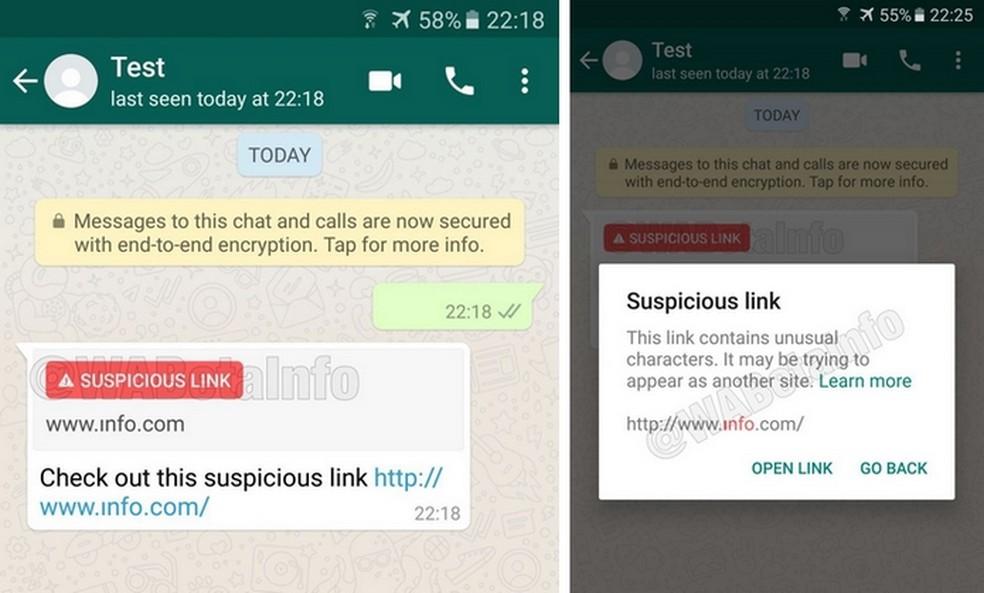 Prints do WhatsApp com recurso de links suspeitos em funcionamento (Foto: Reprodução/WABetaInfo)