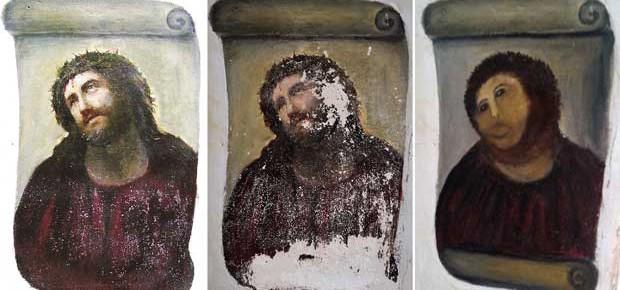 O Ecce Homo, de Elías García Martínez, antes e depois da restauração de Cecilia Giménez (Foto: AFP)