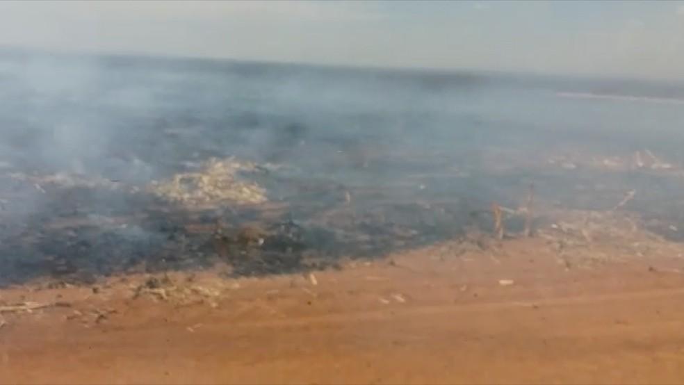 Área totalmente destruída pelo incêndio que ocorreu nesta quinta-feira (23), em Costa Rica, MS (Foto: Reprodução/G1 MS)